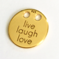 24K Gold Plated Sterling Silver Live Laugh Love Disc Charm